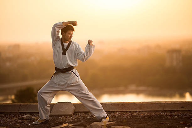 black belt martial artist practicing karate at sunset. - artes marciales fotografías e imágenes de stock