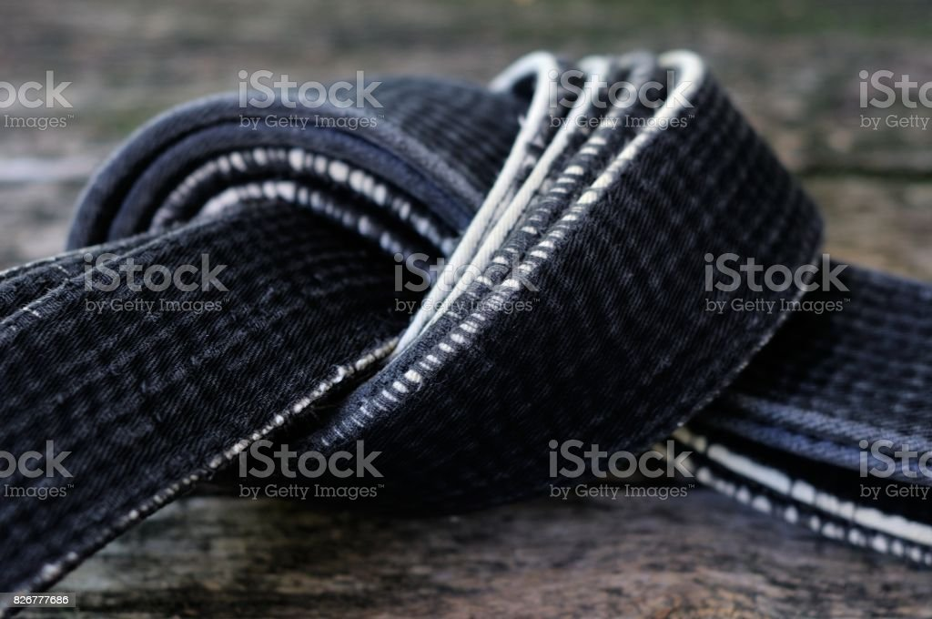 Black belt master of martial arts. stock photo