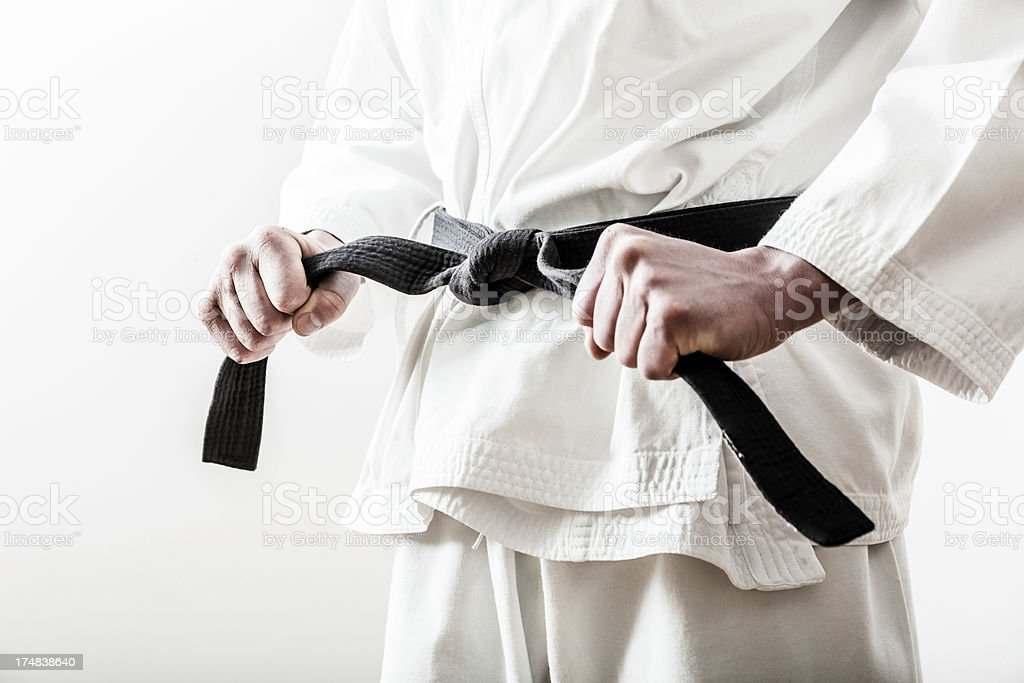 Black Belt ready to fight stock photo