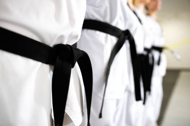 Black belts in close up mode stock photo