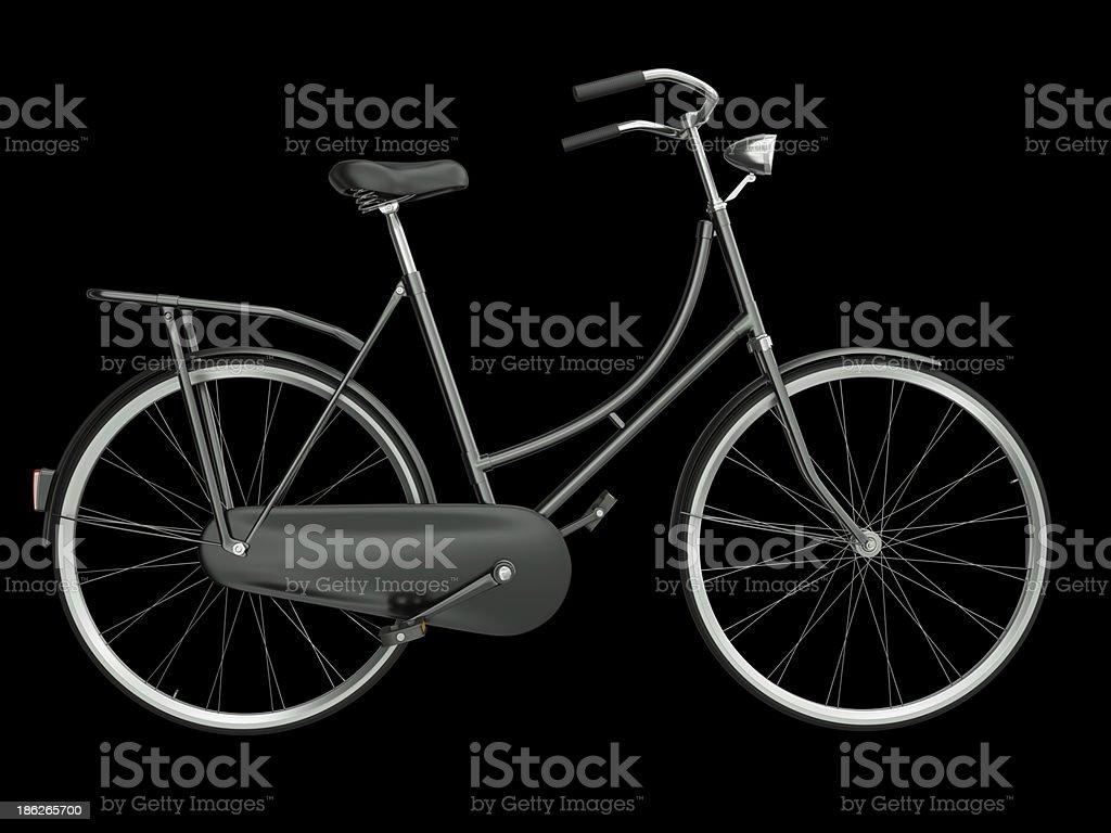 black Fahrrad auf einem schwarzen Hintergrund. – Foto