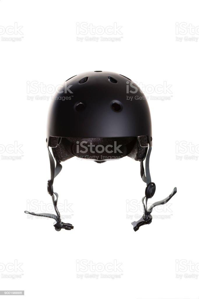 schwarze Fahrrad und Skateboard Helm auf weißem Hintergrund – Foto