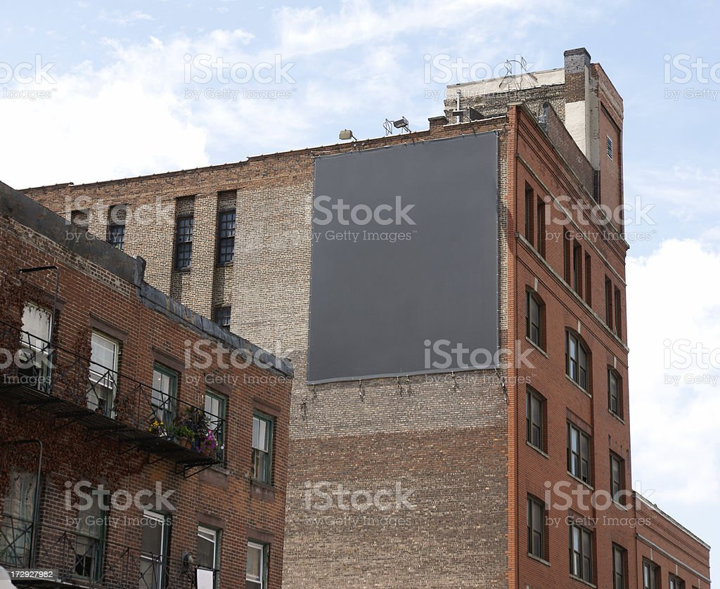 Black Billboard Advertising Space in Chelsea, Manhattan NY stock photo