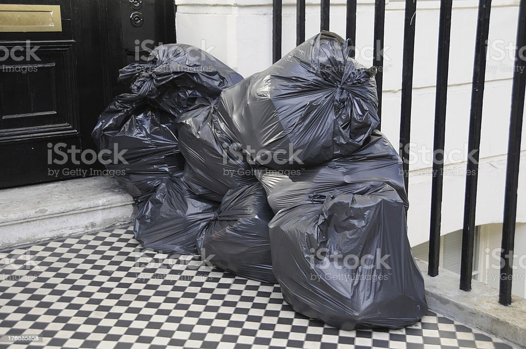 Black Bin Bags Stacked stock photo