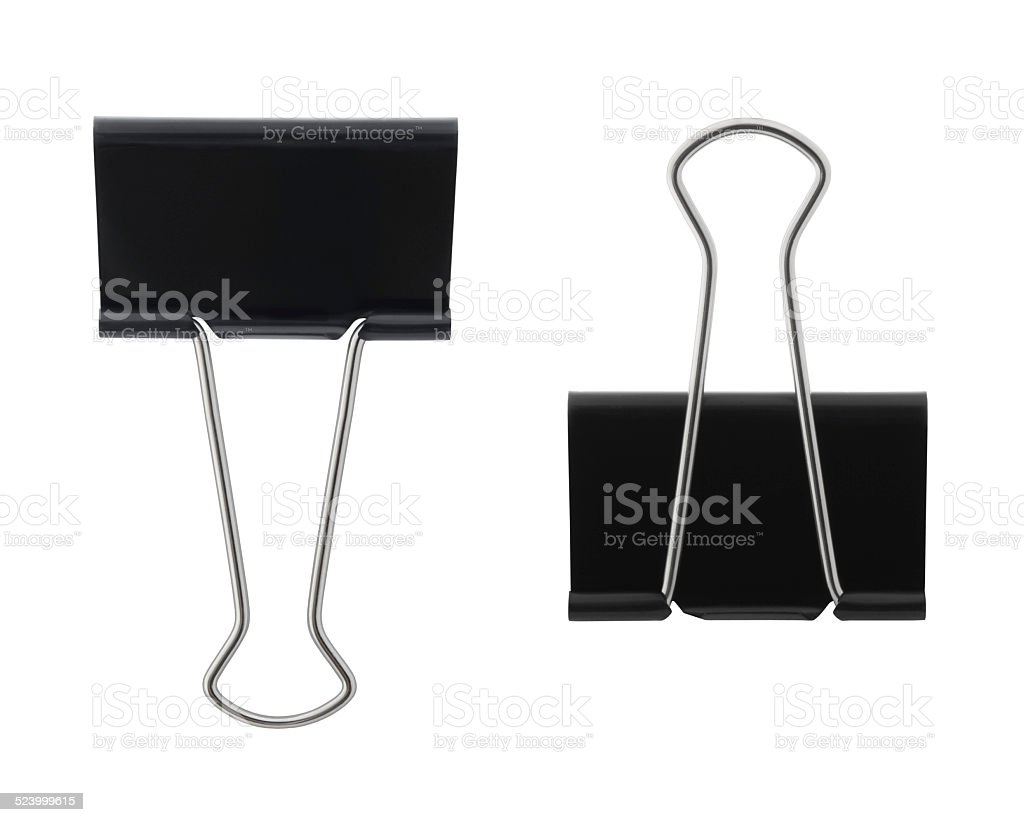 Black Binder Clips (with path) stock photo