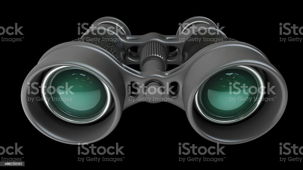 Black binoculars isolated on black background High resolution 3d stock photo