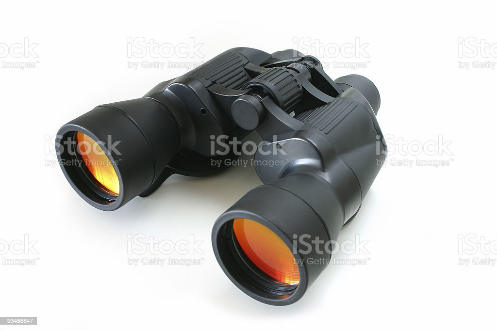 Black binoculars isolated on white background royalty-free stock photo