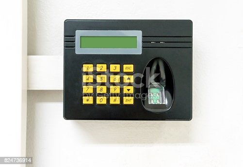 1058987638 istock photo Black bio-metric scan with laser fingerprint sensor and digital screen 824736914