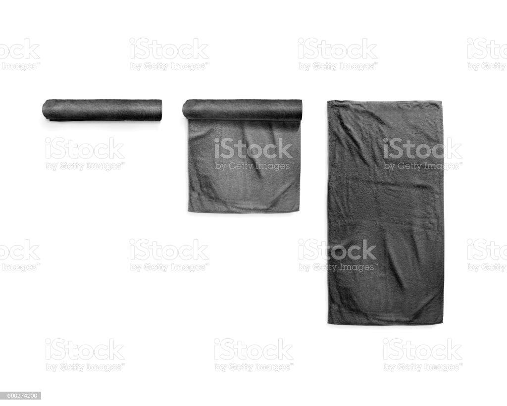 Schwarz schwarz weicher Strand-Handtuch-Mock-up-set – Foto