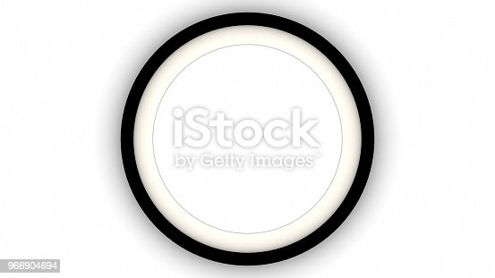 1144461291 istock photo Black blank circle frame and shadow on white background. 3d rendering 966904694