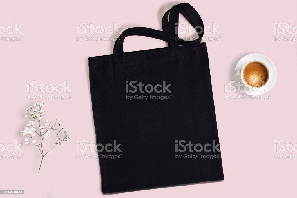 Black blank cotton eco tote bag, design mockup. stock photo