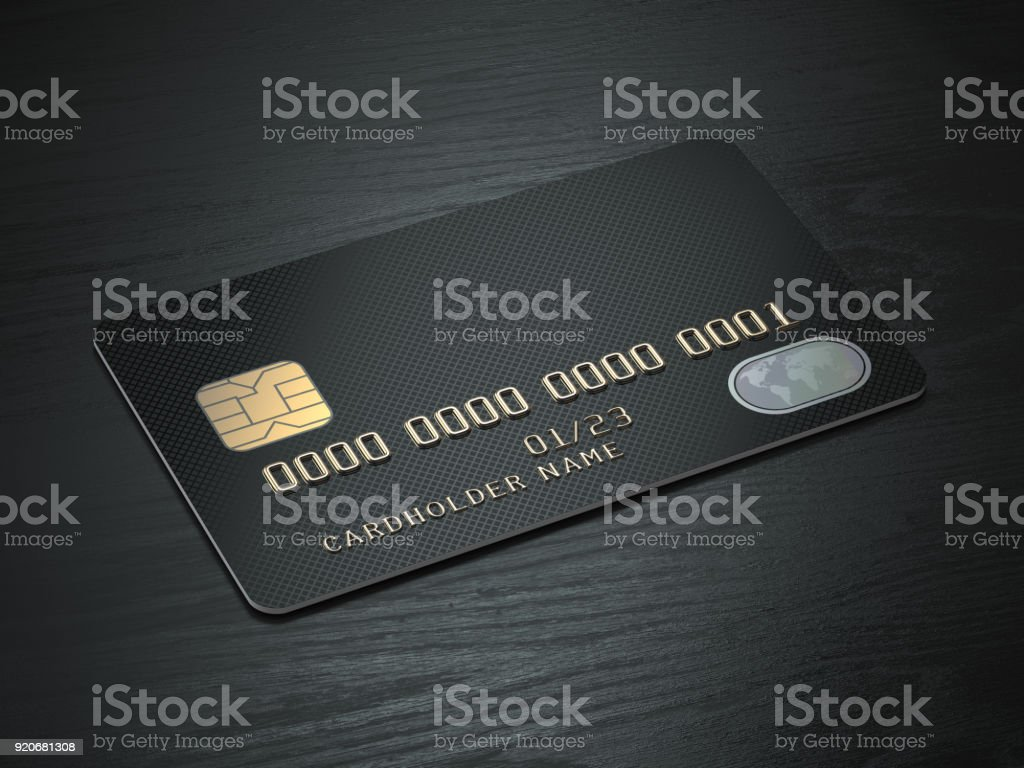 Black blank credit cards mockup on black wood table background. stock photo