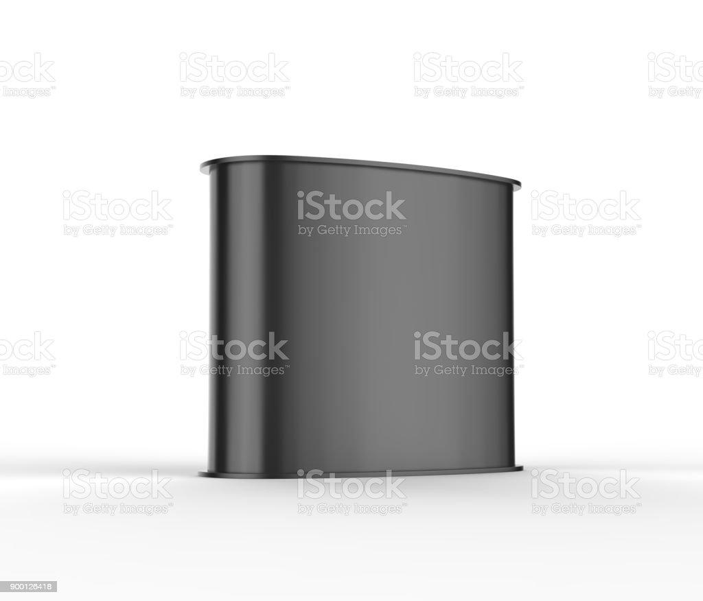 Preto em branco curvo apresentam balcão promocional publicidade cabine POS POI PVC, varejo comércio ficar isolado no fundo branco. Mock-se modelo para seu projeto. Ilustração 3D. - foto de acervo