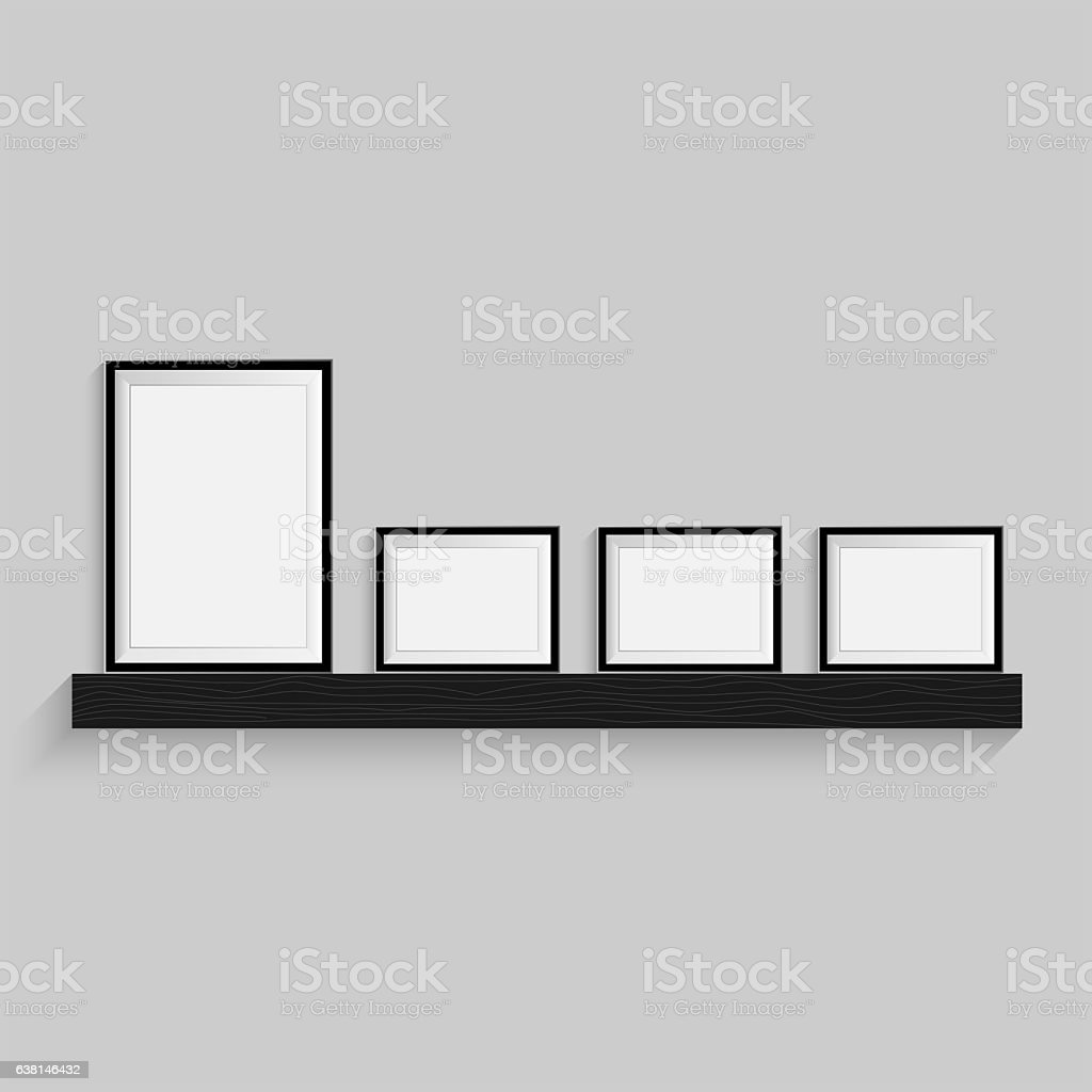 Black blank picture. Frame template poster set. stock photo