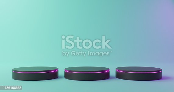1129130396 istock photo Black blank product stand with purple neon lights on pastel colors background 1186166537