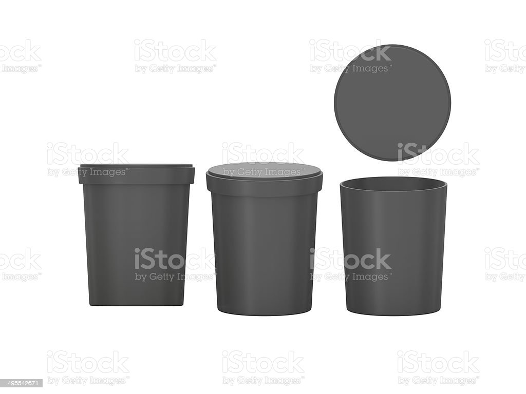 black  blank Tub Food Plastic Container packaging with clipping stock photo