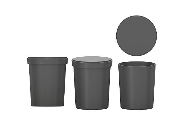 black  blank tub food plastic container packaging with clipping - milk bottle stock photos and pictures