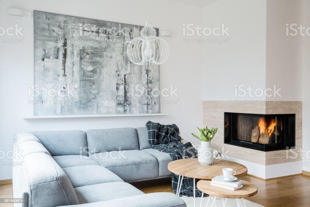Schwarze Decke Geworfen Auf Graue Ecke Lounge Innen Weiss Wohnzimmer