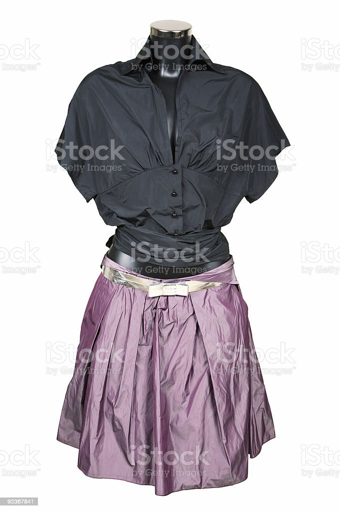 Black blouse and violet skirt royalty-free stock photo