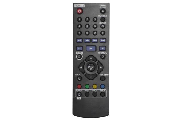 black blu ray lecteur de disque à distance pour la télévision sur le fond blanc avec chemin de coupure. - blu ray disc photos et images de collection