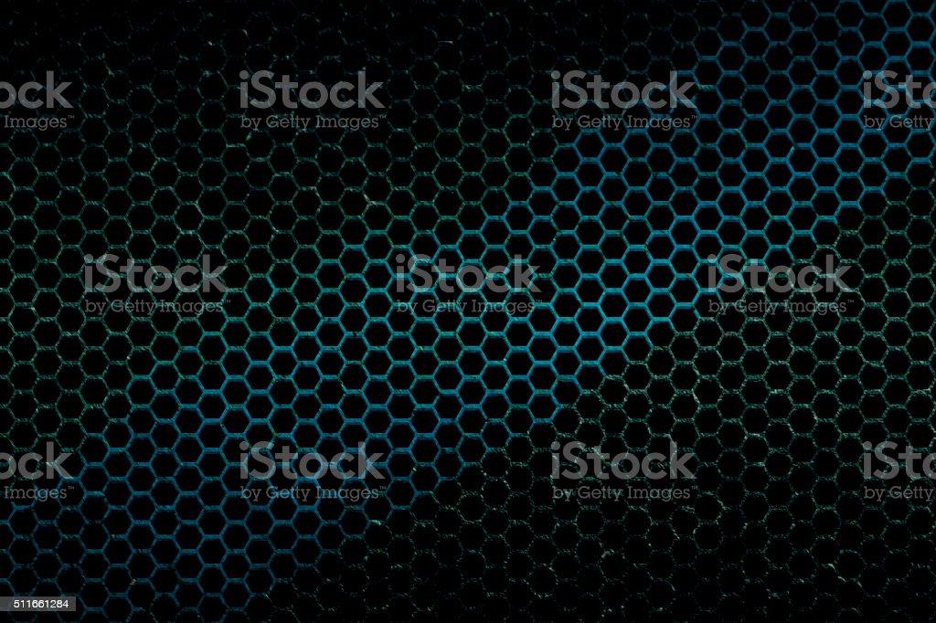black, blue and green metallic mesh background texture stock photo