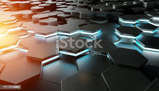 1003112152 istock photo Black blue and orange abstract hexagons background pattern 3D rendering 1211016962