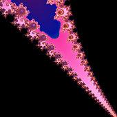 Black, blue, purple and pink mandelbrot fractal.