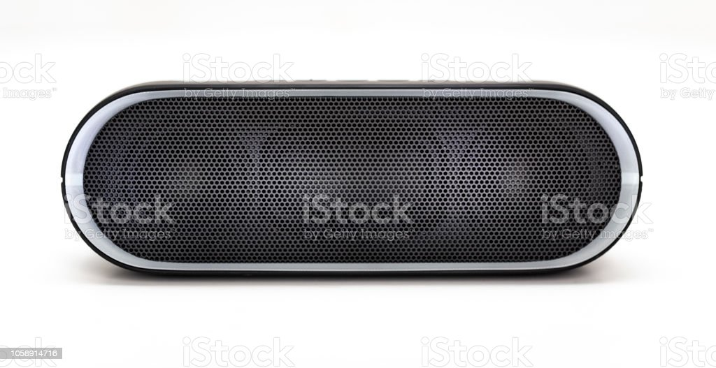 Black Bluetooth speaker with lights on isolated in white background stock photo