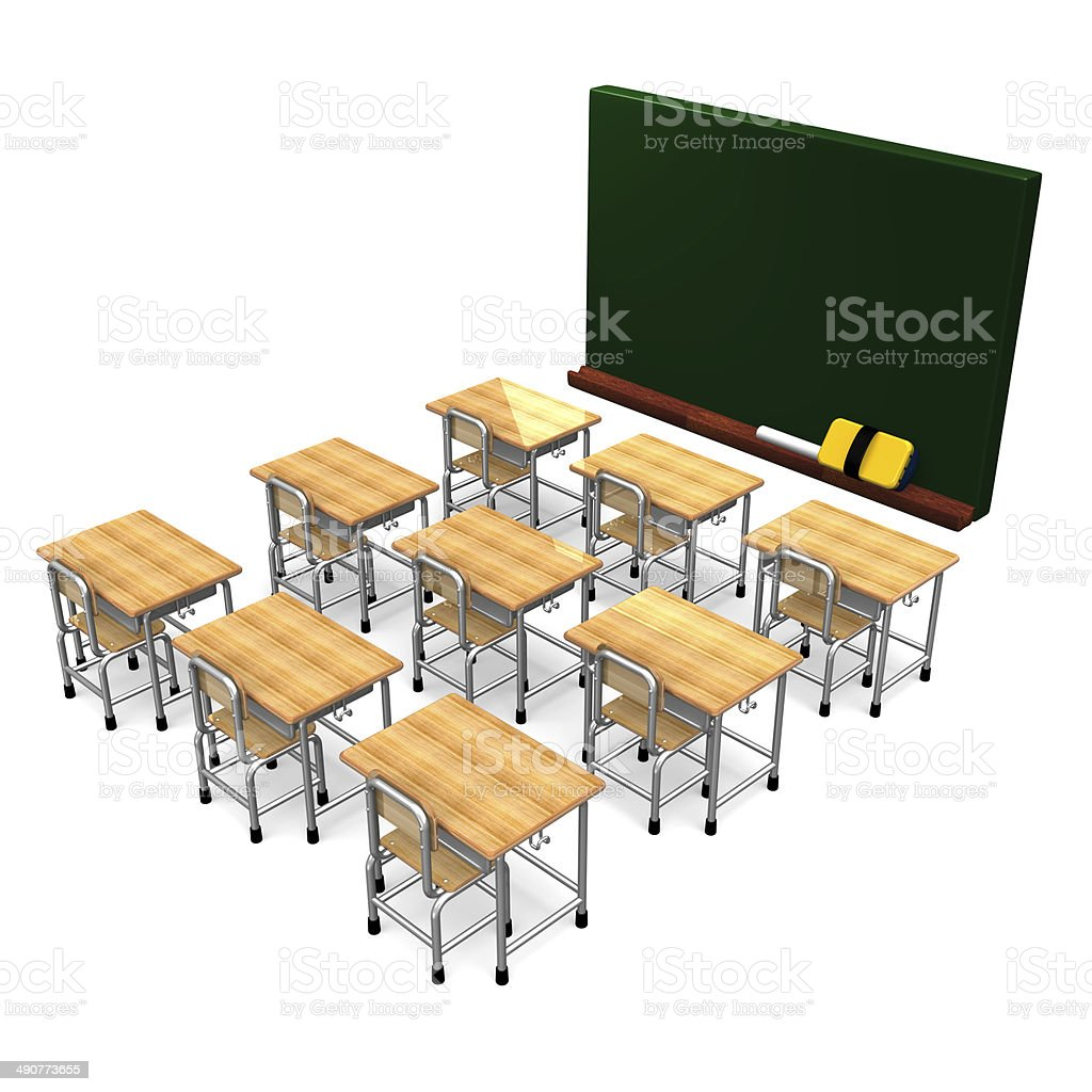 Black Board And Some School Desks stock photo