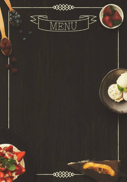 black board as mockup for restaurant menu - food logo stock photos and pictures
