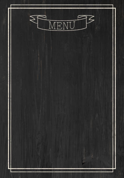 Black board as mockup for restaurant menu stock photo