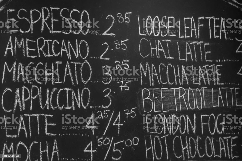 A Black Board in a Coffee Shot with a Menu on it stock photo
