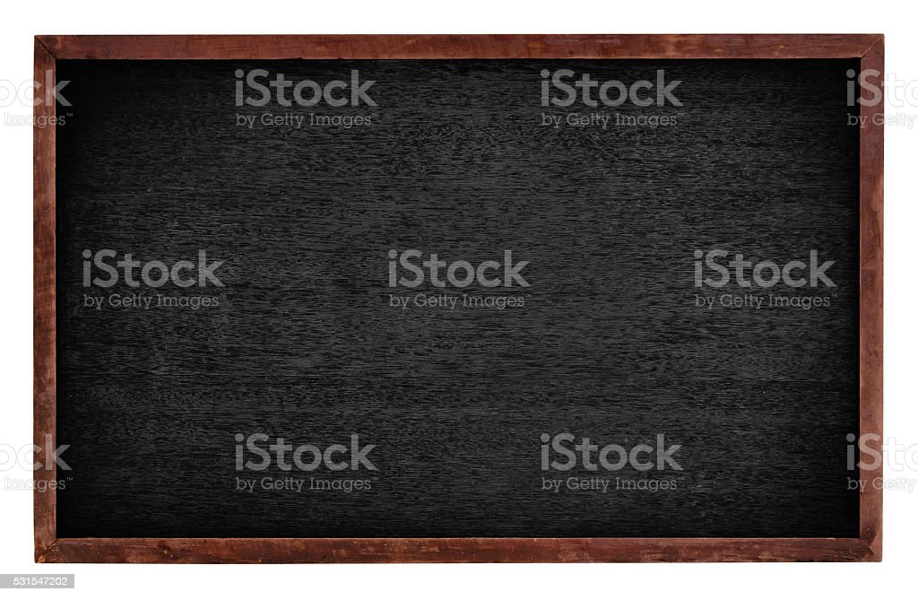 Black board isolate on white background stock photo