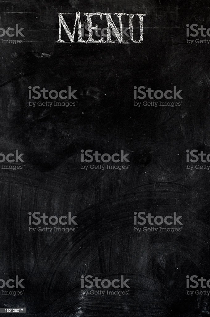 A black board with a menu label stock photo