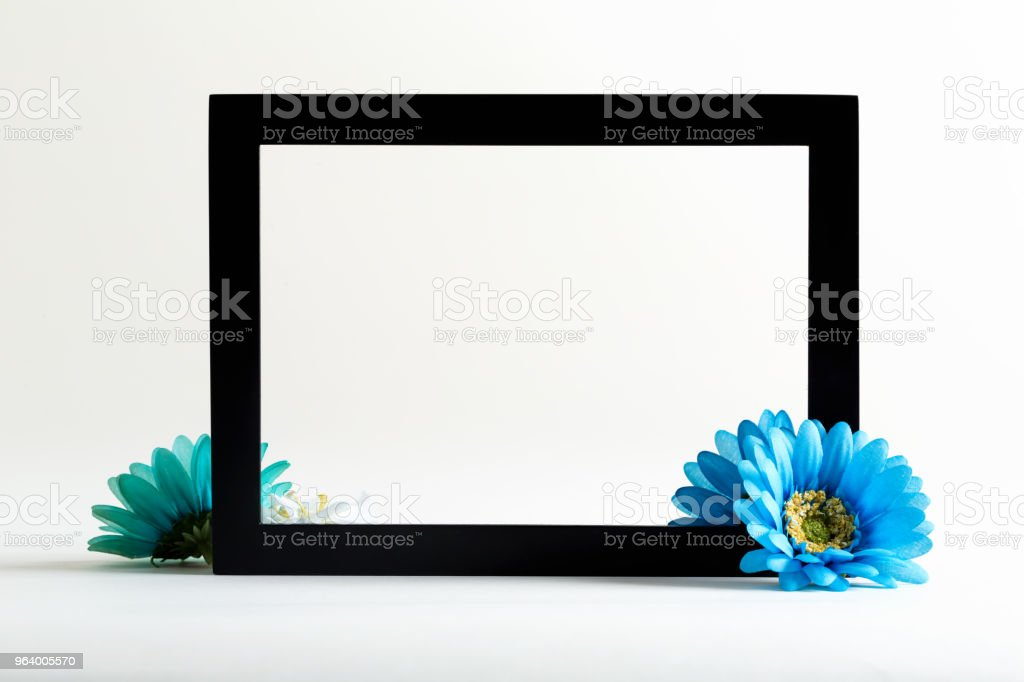 Black boarder frame with blue flower - Royalty-free Backgrounds Stock Photo