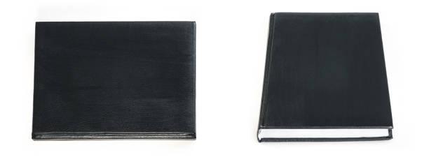 schwarzbuch abdeckung isoliert auf weißem hintergrund - planner inserts stock-fotos und bilder