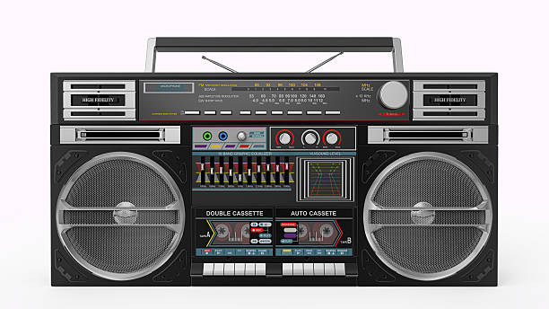 Black Boombox Front View. Clipping Path stock photo