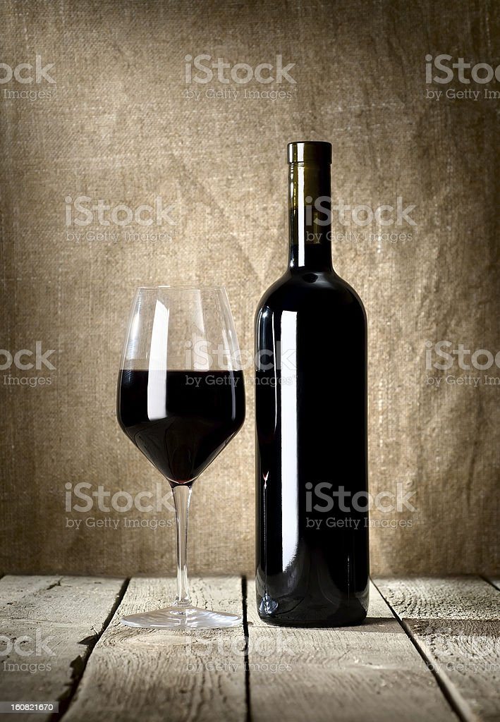Black bottle and glass royalty-free stock photo