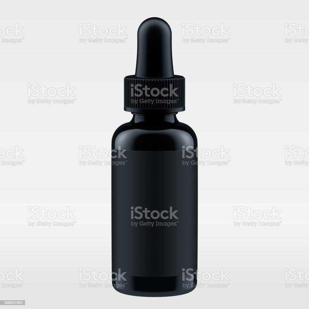 Schwarze Flasche für Luxuskosmetik. Moke Pack. 3D render – Foto
