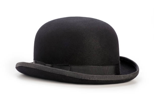Black bowler hat isolated on a white background stock photo
