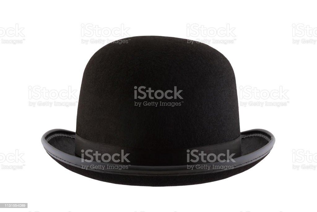 Black bowler hat isolated on white background