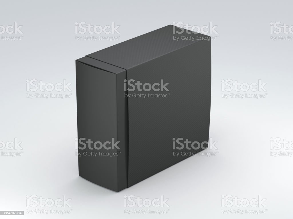 Black Box cardboard packaging with cover on grey background stock photo