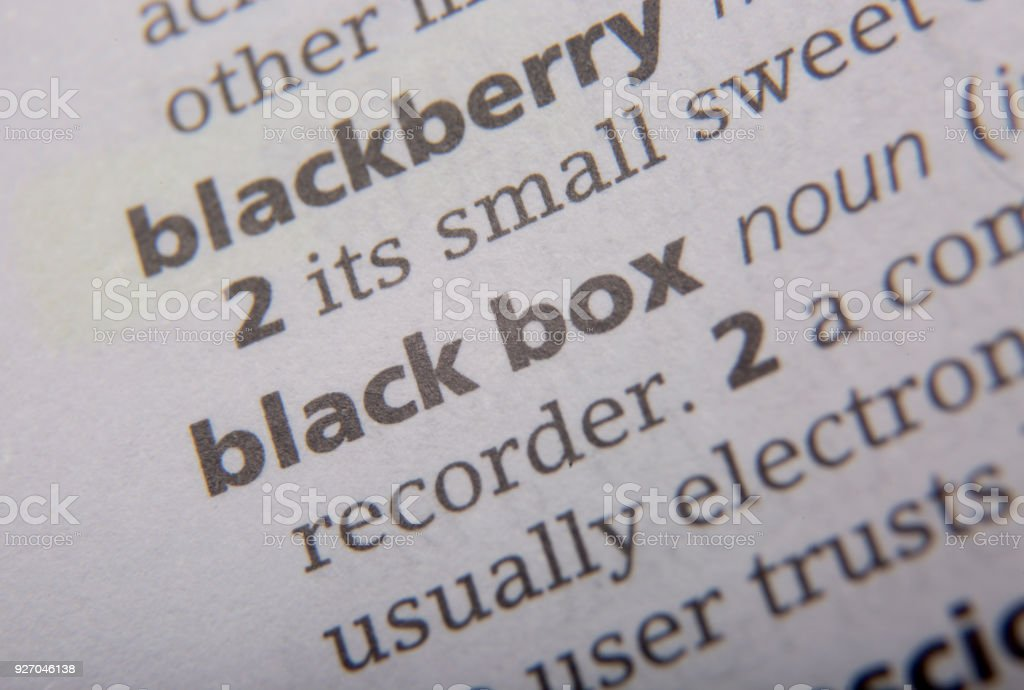 Black box defined in the English dictionary stock photo