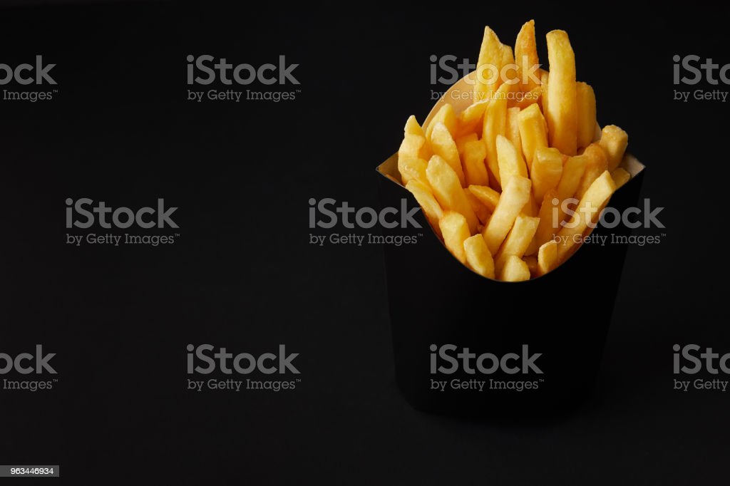 kara kutu siyah siyah izole izole lezzetli Fransız kızartması - Royalty-free Acıkmış Stok görsel