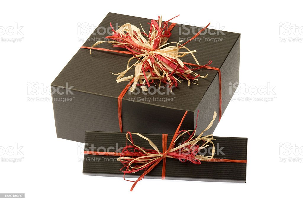 Black Box With Colorful Natural Bow. Isolated stock photo