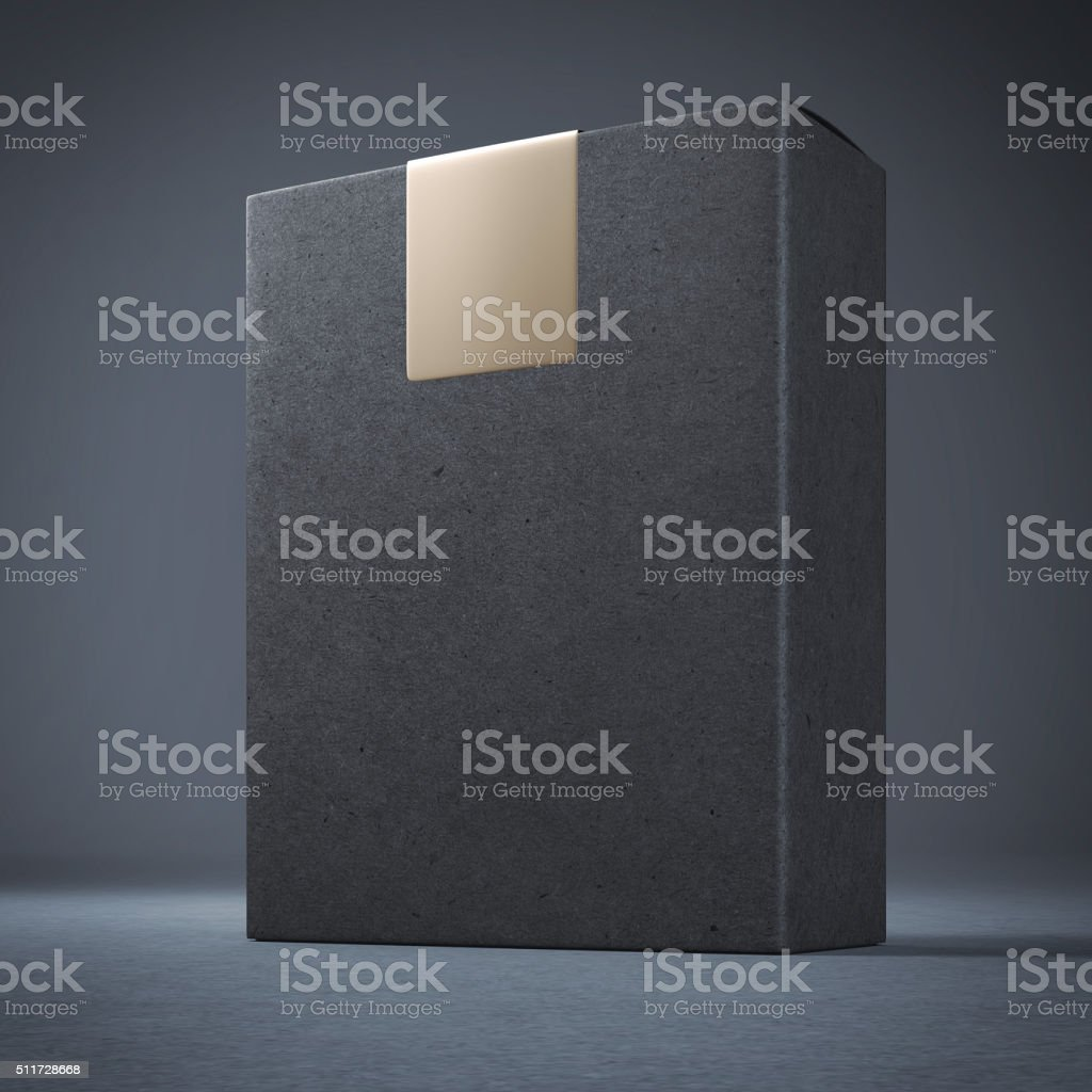 Black box with giolden sticker  on top stock photo