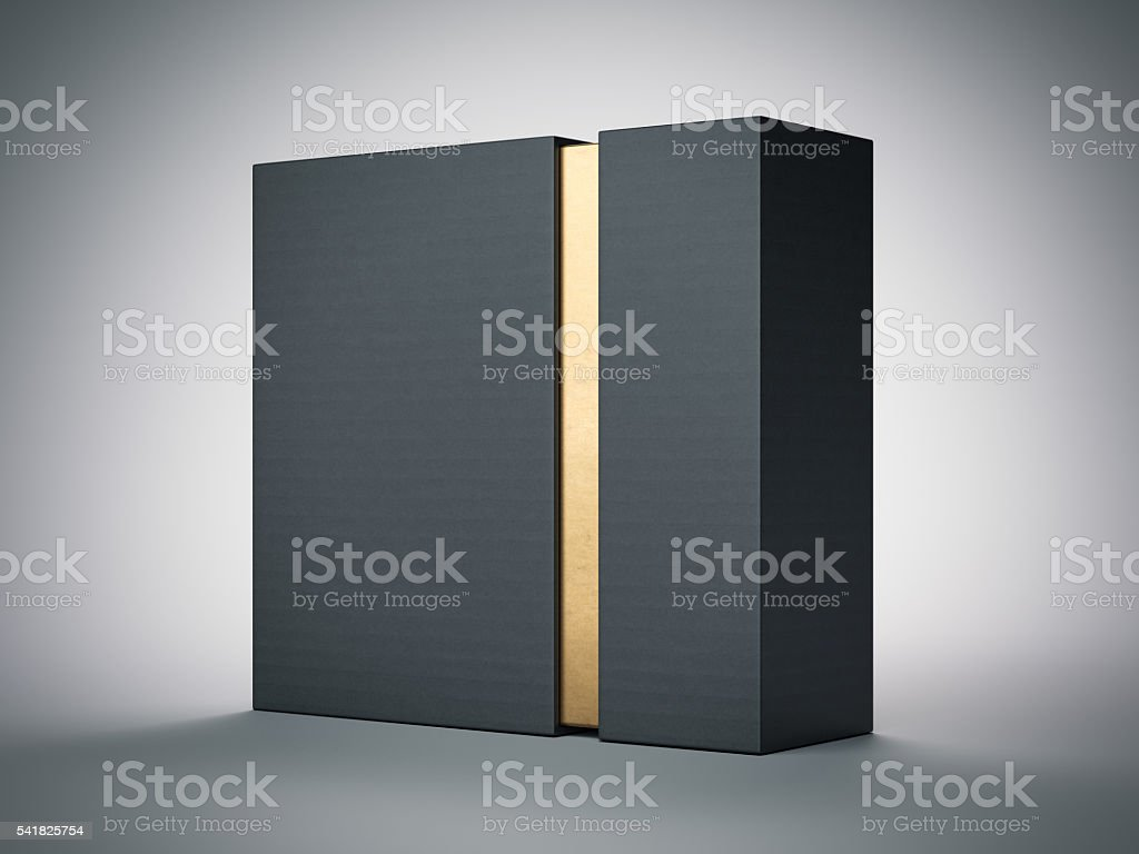 Black box with gold stripe inside. 3d rendering - foto de stock