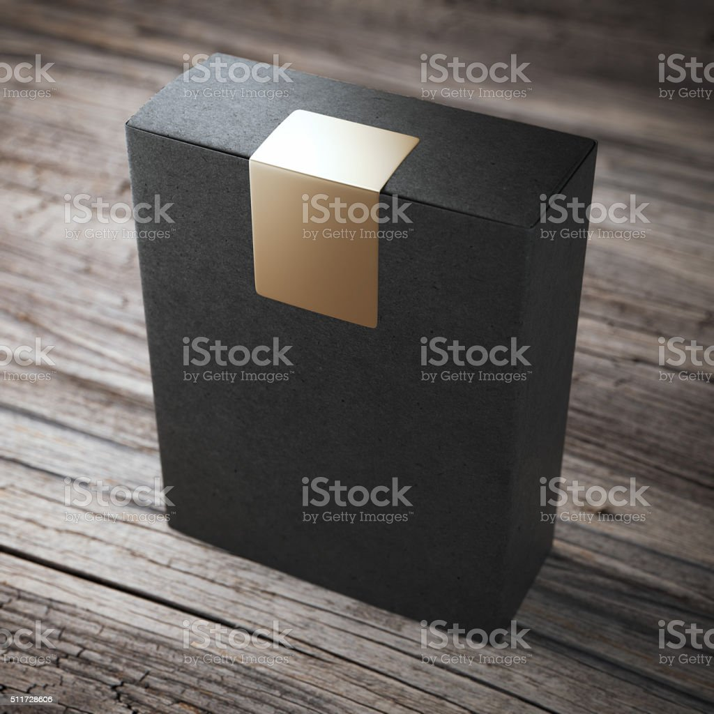 Black box with sticker stock photo