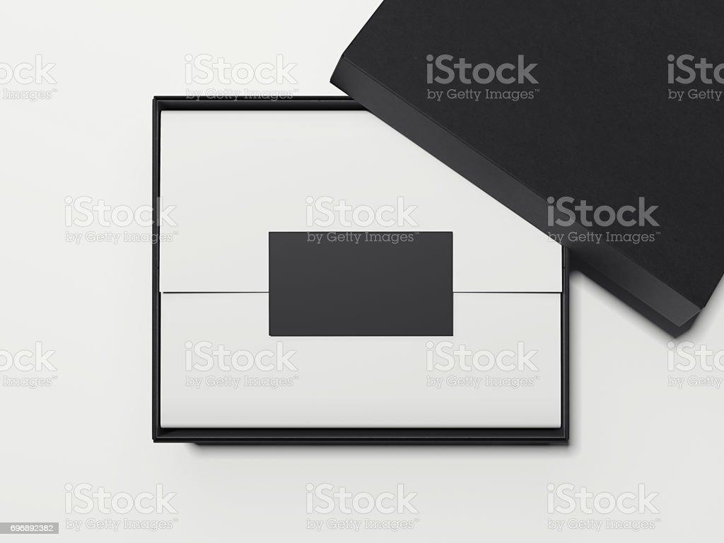 Boite Noire Avec Du Blanc Papier Demballage Et Carte De Visite Rendu