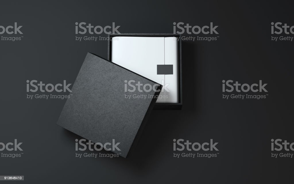 Black Box with wrapping paper and label or tag stock photo